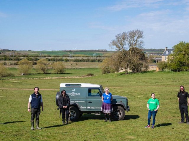 l-r Sofie Pedley (Education Intern), Jack Pishhorn, (Chester House Estate Business Manager), Georgia Wales (Marketing Intern), Denise Horn (Nenescape Project Support and Volunteer Co-ordinator), Amanda Johnson (Nenescape Scheme Manager), and Ben Donnelly-Symes (Archaeological Archives Curator).