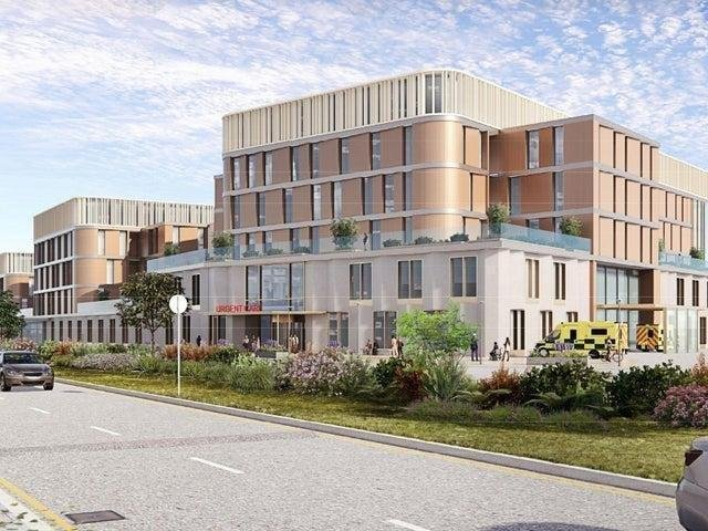 An artist's impression of what the Urgent Care Hub could look like, replacing A&E and short stay urgent care wards, with extra inpatients beds on the higher floors. This would be completed in the first phase of the development.