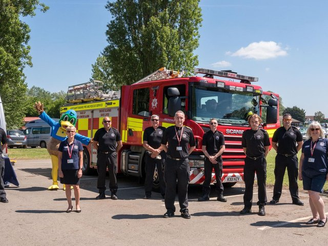 The fire service at Billing Aquadrome in Northampton.