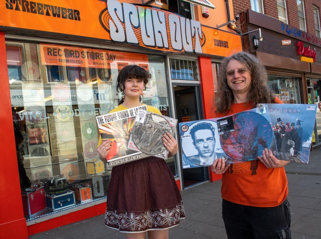 Chris Kent and his daughter Roxy outside Spun Out in Northampton.