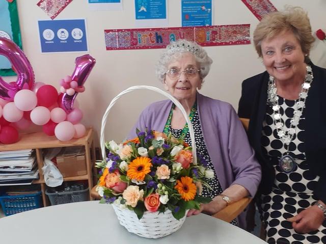 Margaret Tirebuck, 101, with the Mayor of Irthlingborough
