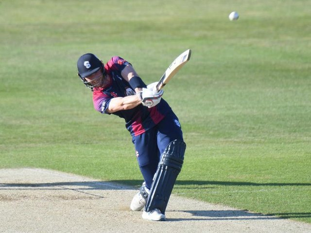 Rob Keogh hits out on his way to 45 in the defeat to Notts Outlaws