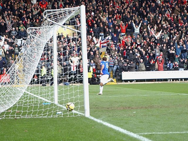 Mike Capps captured the moment the ball rolled into the net and Brett Solkhon wheeled away after opening the scoring for Kettering Town against Notts County in their famous FA Cup run in the 2008-09 season