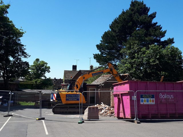 Demolition of the council outbuilding started today (Wednesday)