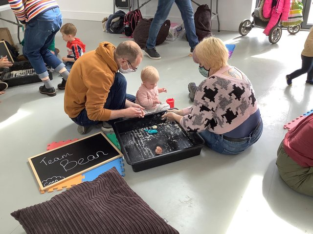 Families taking part in My Sensory Adventures hosted by The Carbon Theatre.