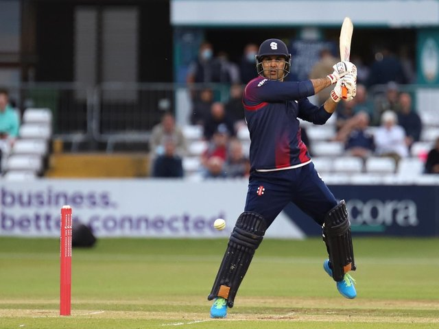 Mohammad Nabi in batting action for the Steelbacks at Derby on Thursday (Pictures: Peter Short)