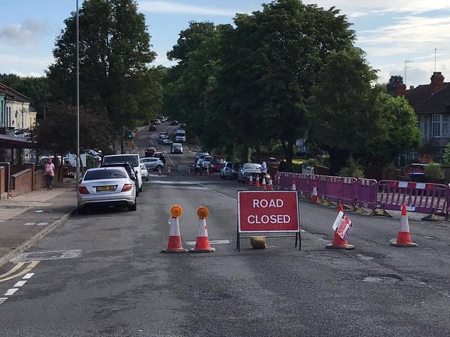 Part of Kettering Road is closed following reports of flooding on Tuesday morning