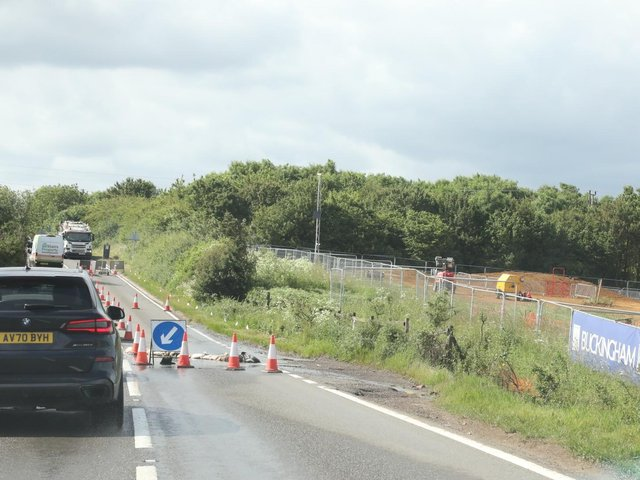 Temporary lights on the A509 today
