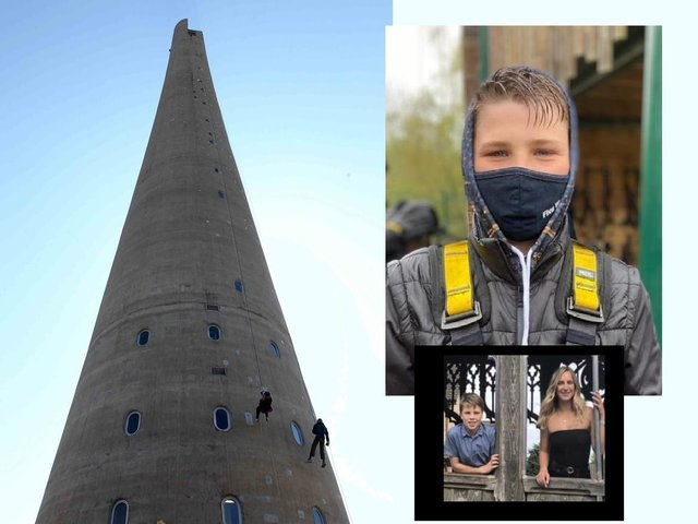 Michael will take on the LIft Tower abseil in memory of his sister Lauren (inset)