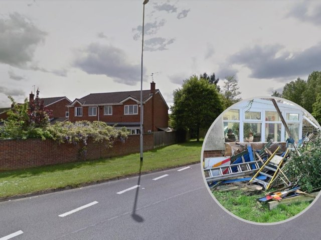 A shed and fence were demolished during the crash