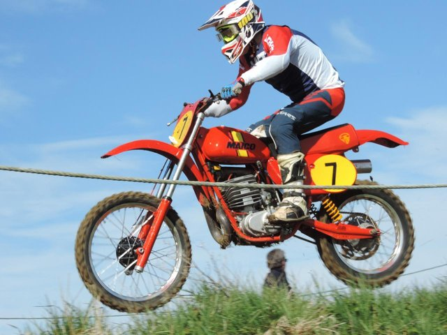 Northampton Classic club rider Johnny Walker (1978 400 Maico) at Woodford's April meeting, which was not open to the public.