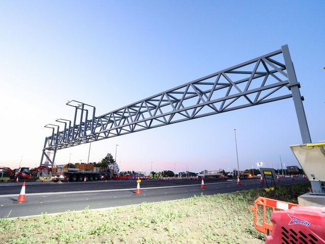 The gantries will eventually have signs on them