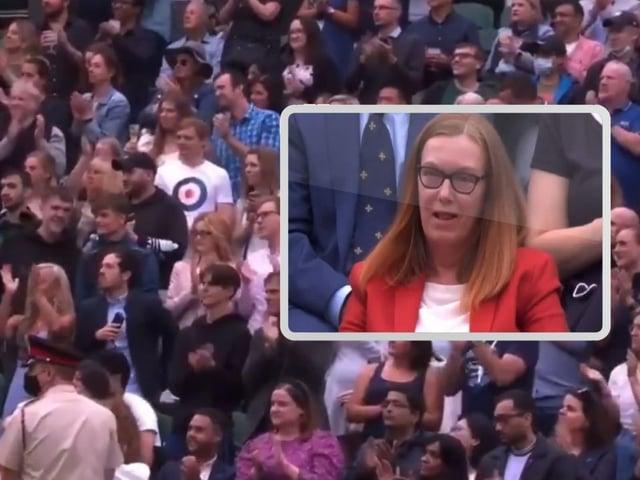 The standing ovation and, inset, Dame Sarah at Wimbledon.