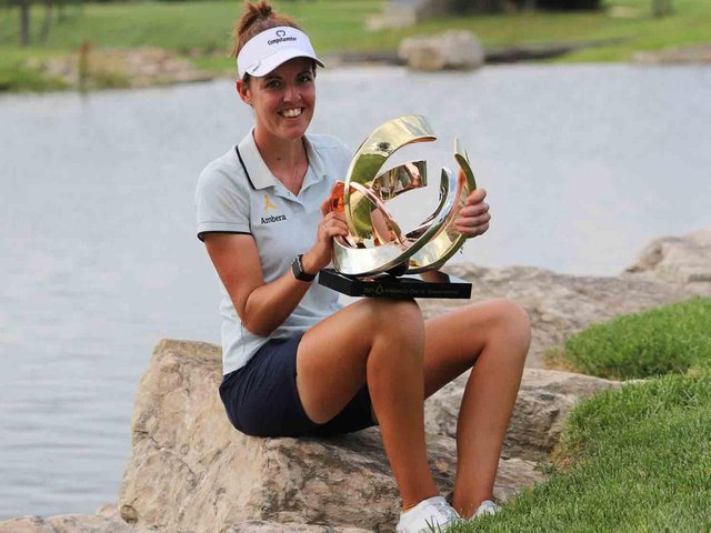 Meghan MacLaren was all smiles are her win in the Prasco Charity Championship. Picture courtesy of www.symetratour.com