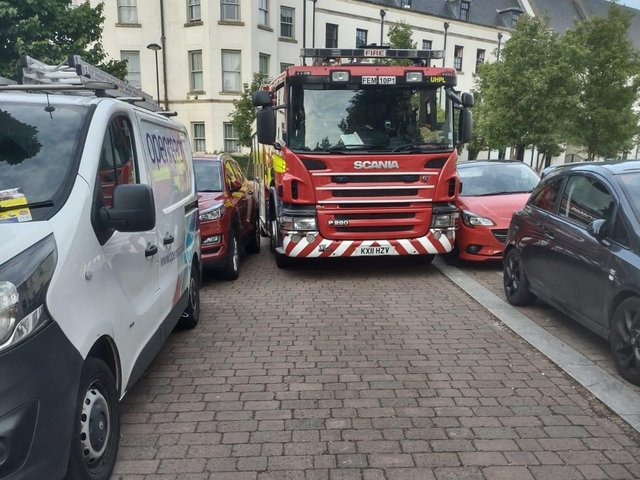 Crews from Mereway Fire Station were out and about at the weekend distributing leaflets to residents, following their attendance at an incident where their arrival was delayed due to thoughtless parking.