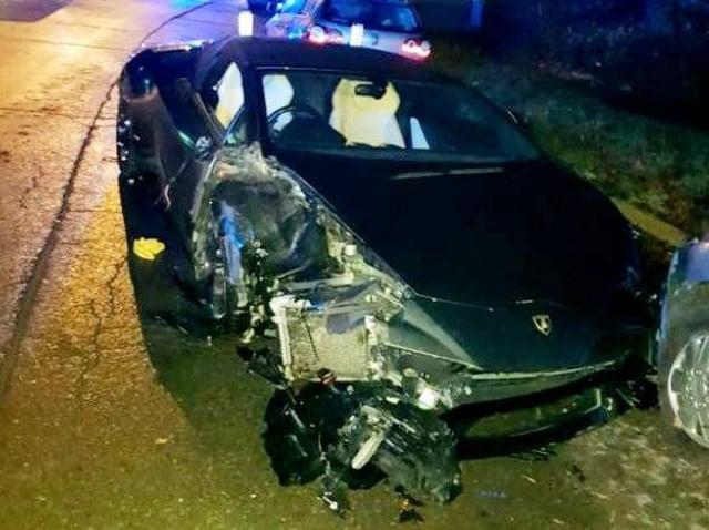 The wrecked £150,000 Lamborghini after November's smash in Moulton Park