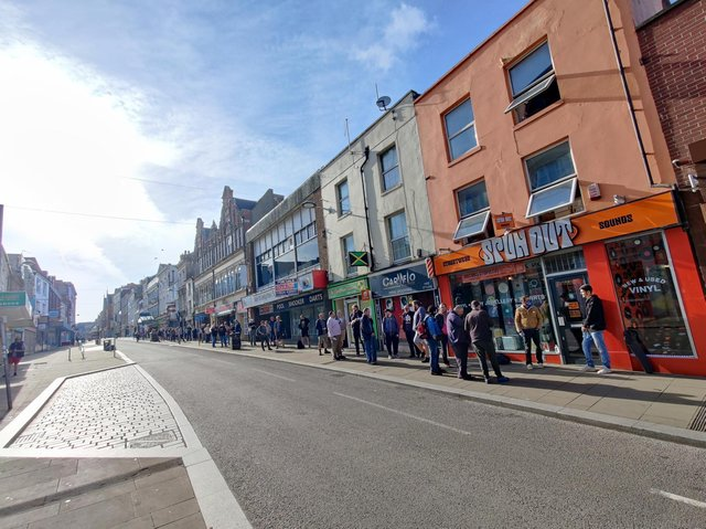 Record collectors queuing outside of Spun Out in Gold Street last month for the first 'drop' of limited edition vinyl.