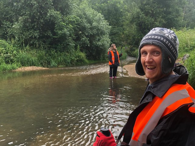 Grow Wild members Samantha and William taking part in a river clean up at Geddington Ford