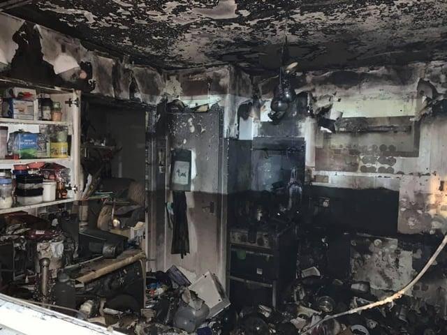 The kitchen was destroyed. Credit: Desborough Fire Station